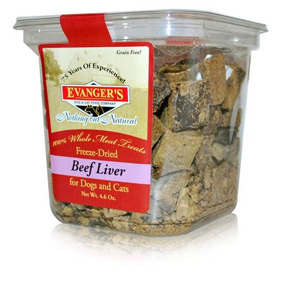 Evanger's Presents Evanger's Freeze Dried Beef Liver Treat Dog/Cat 4.6oz. Primary Protein Source Beef Liver Analysis Crude Protein Min ..........68.0% Crude Fiber Max ..........1.0% Crude Fat Min ......... 6.0% Moisture Max ........11.0% [35502]