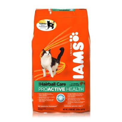 P&amp;G Presents Iams Proactive Health Hairball Care Dry Cat Food 6.8 Lbs. Iams' Hairball Care is a Specially Formulated Cure for your Cat's Hairball Problems. Hairballs are a Collection of Fur that Form Inside the Stomach and Need to be Coughed Up and out, and in Order to Help Prevent this, Iams' Hairball Care is Made with Trusted Ingredients Known to Strengthen her Coat and Digestive Tract. Using a Unique Blend of Carbohydrates, Fos and Beet Pulp, your Cat's Ability to Absorb Nutrients is Further Enhanced. In Addition, the Inclusion of Vitamin B and Fish Oils Helps Promote Healthy Skin. It all Combines to Help Prevent Hairballs for Cats. Made with only your Cat's Health in Mind, Iams' Hairball Care is Designed to Keep your Cat Happy. Iams Cat Hairball Care 20lb Primary Protein Source Chicken Analysis Crude Protein (Minimum)32.00% Crude Fat (Minimum)21.00% Moisture (Maximum)10.00% Crude Fiber (Maximum)6.50% Ash (Maximum)7.00% Magnesium (Maximum)0.10% Taurine (Minimum)0.15% [37993]