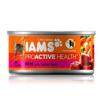P&amp;G Presents Iams Proactive Pate Tender Beef Canned Cat Food 12/5.5oz. Iams Proactive Pate Tender Beef Canned Cat Food, Canned Recipes from Iams Give your Pet the Taste and Nutrition of a Homemade Meal. With Real Broth in Every Healthy Bite, your Pet will Find Mealtime Irresistible. Iams Canned Recipes are Made from Natural Ingredients Slow-Cooked in Real Broth Plus Added Vitamins and Minerals. [35531]