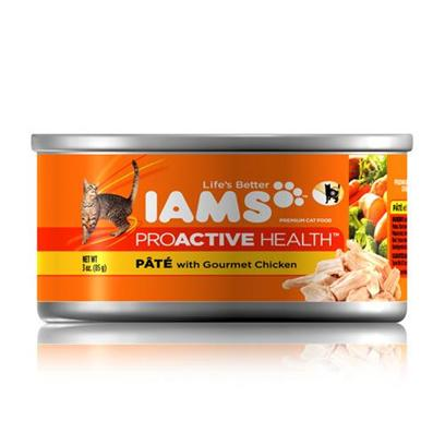 P&amp;G Presents Iams Cat Proactive Pate Gourmet Chicken Canned Food 5.5oz Cans/Case of 12. Iams Cat Proactive Pate Gourmet Chicken Canned Food, Canned Recipes from Iams Give your Pet the Taste and Nutrition of a Homemade Meal. With Real Broth in Every Healthy Bite, your Pet will Find Mealtime Irresistible. Iams Canned Recipes are Made from Natural Ingredients Slow-Cooked in Real Broth Plus Added Vitamins and Minerals. [35533]