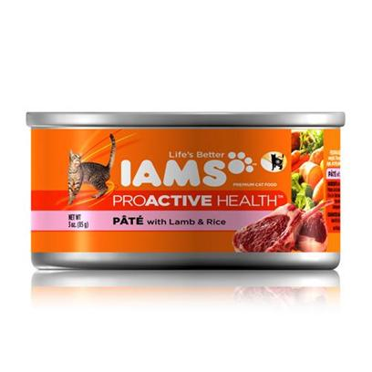 P&amp;G Presents Iams Proactive Health Pate Lamb/Rice Canned Cat Food 3oz Cans/Case of 24. Iams Proactive Health Pate Lamb/Rice Canned Cat Food, Canned Recipes from Iams Give your Pet the Taste and Nutrition of a Homemade Meal. With Real Broth in Every Healthy Bite, your Pet will Find Mealtime Irresistible. Iams Canned Recipes are Made from Natural Ingredients Slow-Cooked in Real Broth Plus Added Vitamins and Minerals. [35534]