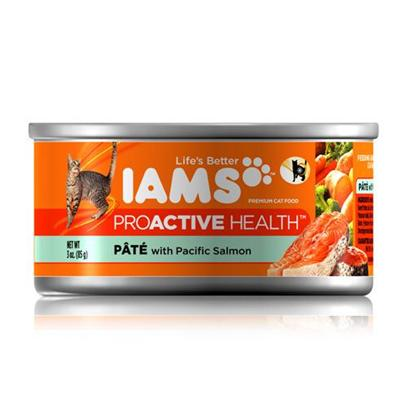 P&amp;G Presents Iams Proactive Pate Pacific Salmon Canned Cat Food 5.5oz Cans/Case of 12. Iams Proactive Pate Pacific Salmon Canned Cat Food, Canned Recipes from Iams Give your Pet the Taste and Nutrition of a Homemade Meal. With Real Broth in Every Healthy Bite, your Pet will Find Mealtime Irresistible. Iams Canned Recipes are Made from Natural Ingredients Slow-Cooked in Real Broth Plus Added Vitamins and Minerals. [35537]
