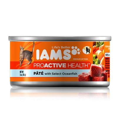 P&amp;G Presents Iams Proactive Pate Select Oceanfish Canned Cat Food 3oz Cans/Case of 24. Iams Proactive Pate Select Oceanfish Canned Cat Food, Canned Recipes from Iams Give your Pet the Taste and Nutrition of a Homemade Meal. With Real Broth in Every Healthy Bite, your Pet will Find Mealtime Irresistible. Iams Canned Recipes are Made from Natural Ingredients Slow-Cooked in Real Broth Plus Added Vitamins and Minerals. [35538]