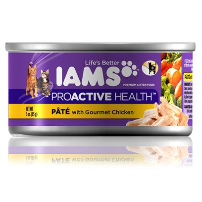 P&amp;G Presents Iams Proactive Health Kitten Pate Gourmet Chicken 3oz Cans/Case of 24. Iams Proactive Health Kitten Pate Gourmet Chicken, your Kitten is Sure to Love the Taste! [35540]