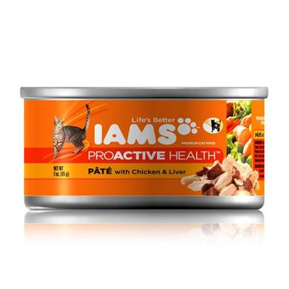 P&amp;G Presents Iams Proactive Pate Tender Chicken/Liver Cat Food 24/3oz. Iams Proactive Pate Tender Chicken/Liver Cat Food,Real Broth in Every Healthy Bite, your Adult Cat will Find Mealtime Irresistible. [35544]