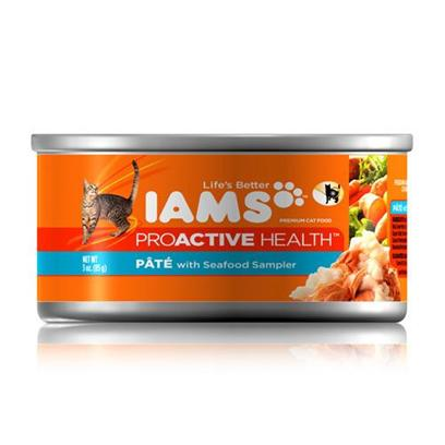 P&amp;G Presents Iams Proactive Pate Seafood Sampler Cat Food 3oz Cans/Case of 24. Iams Proactive Pate Seafood Sampler Cat Food,Canned Recipes from Iams Give your Pet the Taste and Nutrition of a Homemade Meal. With Real Broth in Every Healthy Bite, your Pet will Find Mealtime Irresistible. Iams Canned Recipes are Made from Natural Ingredients Slow-Cooked in Real Broth Plus Added Vitamins and Minerals. [35545]