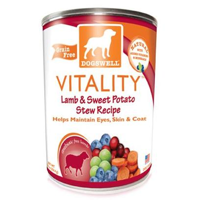 Dogswell Presents Dogswell Vitality Lamb & Sweet Potato Stew Recipe Canned Food 12/13oz Cans 13oz Cans/Case of 12 (35550). Dogswell Vitality Lamb & Sweet Potato Stew Recipe Canned Food, your Dog is Sure to Love the Taste! [35550]