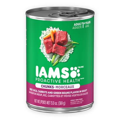 P&amp;G Presents Iams Proactive Chunk Dog Food 12.3oz Cans/Case of 12 (35562). Iams Proactive Chunk Dog Food is a Great Meal to Serve any Pet with the Desired Result of Ensuring their Nutritional Needs. [35562]