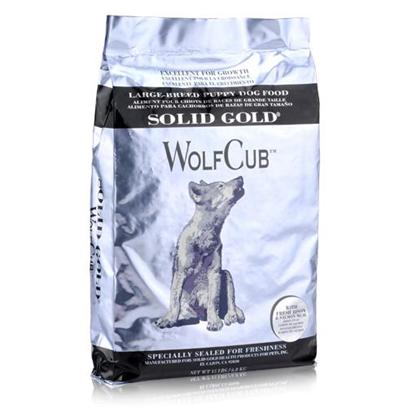 Solid Gold Presents Solid Gold Wolf Cub Large Breed Bison Puppy Dry Food 15 Lbs. High Energy Diets, Like Most Puppy Foods, can Promote Rapid Growth in Large Breed Puppies, which can Play a Role in the Development of Orthopedic Diseases. Wolfcub Large Breed Puppy Formula Contains Lower Amounts of Protein, Fat, Calories, and Calcium than Hundchen Flocken Puppy Food to Help Control the Growth Process. Research Shows that a Calcium Level of 1.5% or Less is the Most Suitable for a Large Breed Puppy. [35589]