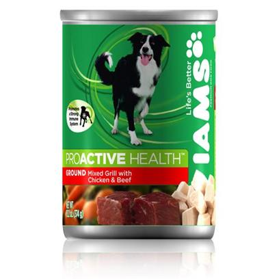 P&amp;G Presents Iams Dog Mix Grill Chicken/Beef 12/13.2oz Cans 13.2oz Cans/Case of 12. Iams' Dog Mix Grilled Chicken and Beef is a Protein-Rich Meal Formulated to Keep your Pet Eating her Way to Great Health. Made from the Best Cuts of Chicken and Beef Mixed with Savory Broth, this Grill Mix is a Great Way to Enhance her Immune System. It is Moist and Rich, Fortified with the Right Vitamins and Minerals that Promote Healthy Digestion and Longevity. Iams' Mix Grilled Chicken and Beef is a Great Way to Mix Health with Happiness and Show your Pet how Much you Care. Iams Dog Mix Grill Chicken/Beef 12/13.2 Oz Primary Protein Sourcechicken Analysiscrude Protein (Minimum)9.00%Crude Fat (Minimum)6.00%Crude Fiber (Maximum)1.00%Moisture (Maximum)78.00%Omega 6 Fatty Acid (Minimum)0.80%Omega 3 Fatty Acid (Minimum)0.10% [35621]