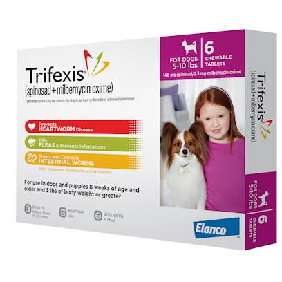 Elanco Animal Health Presents Trifexis 5-10lbs 6 Pack. Trifexis is a Beef Flavored, Chewable Tablet for Dogs that Protects Against Heartworm, Fleas, and Intestinal Worms, Including Hookworm, Roundworm, and Whipworm. Trifexis Starts Killing Fleas Within 30 Minutes and Before they can Lay Eggs. It is Administered Once a Month to your Dog. [35639]