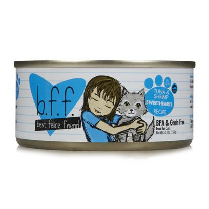 Weruva Presents Best Feline Friend-Tuna and Shrimp Sweethearts Canned Cat Food 5.5oz Cans/Case of 8. Best Feline Friend Tuna &amp; Shrimp Sweethearts Recipe in Gravy Canned Cat Food is Made with Food Fit for Human Consumption and Processed in a Human Grade Facility. Bff Formulas have Superb Palatability which is Attributable to the High Quality of the Base Ingredients.Bff Cat Food is the Purr-Fect Meal to Keep your Pet Happy and Healthy. [35661]