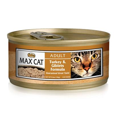Nutro Presents Nutro Max Cat Turkey/Giblets Food 5.5oz Cans/Case of 24. Made to Delight Even the Pickiest Cat,Nutro Max Cat Food is a Delicious Way to Provide your Pet with the Nutrients she Needs. Made from only Natural Ingredients, this Meal is Fortified with Vitamins and Minerals to Keep your Cat Happy and Healthy. Packed with Taurine, Nutro Max Keeps her Energy High and her Vitality Strong. With the Right Combination of Nutrients and a Rich Flavorful Blend of High Quality Ingredients, Nutro Max is a Great Way to Feed your Cat to Good Health. Primary Protein Source Turkey Primary Carb Source Turkey Analysis Crude Protein (Minimum)9.00% Crude Fat (Minimum)6.00% Crude Fiber (Maximum)1.00% Moisture (Maximum)77.00% [35683]