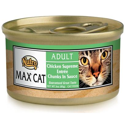 Nutro Presents Nutro Max Cat Chicken Supreme Entree Chunks in Sauce Food 3oz Cans/Case of 24. Nutro Mcgc is a Fantastic Meal thatS Sure to Delight your PetS Taste Buds. With its all-Natural Ingredients, youRe also Guaranteed that sheLl also Receive the Nutrients her Body Needs. Using only the Finest Ingredients, Each Flavorful Blend of Nutro Mcgc is Designed to Keep your Pet Happy and Healthy. Available in Multiple Flavors Like Beef and Egg, Chicken, Duck, Venison, Chicken and Fish, Lamb and Turkey, Seafood Bisque, Salmon and Whitefish, and Turkey, Chicken and Liver, there is Something here for Everyone! Nutro Mcgc is an Excellent Choice for the Discerning Pet Owner. Primary Protein Source Chicken Primary Carb Source Chicken Analysis Crude Protein (Min) 8% Crude Fat (Min) 4.5% Crude Fiber (Max) 1% Moisture (Max) 82% Ash (Max) 3% [35684]