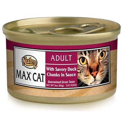 Nutro Presents Nutro Max Cat with Savory Duck Chunks in Sauce Food 3oz Cans/Case of 24. Nutro Mcgc is a Fantastic Meal thatS Sure to Delight your PetS Taste Buds. With its all-Natural Ingredients, youRe also Guaranteed that sheLl also Receive the Nutrients her Body Needs. Using only the Finest Ingredients, Each Flavorful Blend of Nutro Mcgc is Designed to Keep your Pet Happy and Healthy. Available in Multiple Flavors Like Beef and Egg, Chicken, Duck, Venison, Chicken and Fish, Lamb and Turkey, Seafood Bisque, Salmon and Whitefish, and Turkey, Chicken and Liver, there is Something here for Everyone! Nutro Mcgc is an Excellent Choice for the Discerning Pet Owner. Primary Protein Source Chicken Primary Carb Source Chicken Analysis Crude Protein (Min) 8% Crude Fat (Min) 4.5% Crude Fiber (Max) 1% Moisture (Max) 82% Ash (Max) 3% [35690]