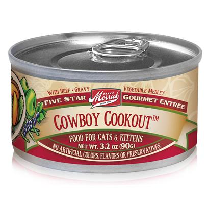 Merrick Pet Care Presents Merrick Cowboy Cookout Canned Food 5.5oz can/Case of 24. To Provide your Pet with Fine Western Flavor, Merrick Gives us Cowboy Cookout. The Savory Flavor of Beef Mixed with Fresh Vegetables and Gravy Sauce is Sure to Boost her Appetite and her Health, Too. Made from only Quality Ingredients, you'Re can be Assured that your Pet is Getting the Nutrients she Needs and that she Enjoys her Food without Worrying About Allergies. Specially Made to Make your Pet Feel the Great Outdoors while Helping her Stay Fit, Merrick'S Cowboy Cookout Canned Food is a Two-Thumbs-Up Meal. Primary Protein Source Beef Primary Carb Source Beef Analysis Crude Protein Min9.00% Crude Fiber Max1.00% Crude Fat Min4.00% Moisture Max81.00% [35694]