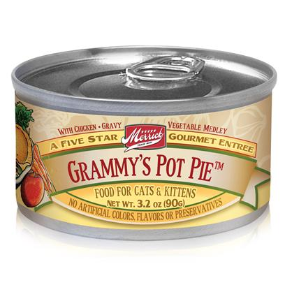 Merrick Pet Care Presents Merrick Grammy's Pot Pie Canned Cat Food 3.2oz can/Case of 24. Grandma Knows how to Make her Family Feel Loved, and thatS Why Merrick Gives your Pet GrammyS Pot Pie Canned Food. Made from GrandmaS Special Pot Pie Recipe, your Best Friend will Definitely Enjoy the Blend of Flavors from Carefully Chosen Natural Ingredients. Keeping in Mind your PetS Sensitive Health, Merrick Ensures she Gets the Nutrients her Body Needs to Help her Maintain her Vitality and to Help Protect her from Certain Types of Diseases. EverybodyS Favorite Granny Recipe is Now Made Available for your Pet to Enjoy; MerrickS Grammys Pot Pie is Another Delectable Meal that she will Surely Savor. Primary Protein Source Chicken Primary Carb Source Chicken Analysis Moisture (Max)81.00% Crude Protein (Min)9.00% Crude Fat (Min)4.00% Crude Fiber (Max)1.00% [35695]