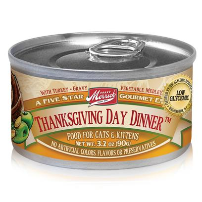 Merrick Pet Care Presents Merrick Thanksgiving Dinner Canned Cat Food 3.2oz can/Case of 24. A Great Way to Make your Pet Feel Like she is Part of the Family, MerrickS Thanksgiving Day Dinner Canned Food will be your PetS Favorite Meal in no Time. Inspired by the Delectable Meals Prepared During Thanksgiving, this Food is Sure to Entice Taste Buds and Make her More Comfortable with your Family. Made from all-Natural Ingredients, this Meal Ensures your Pet Gets the Best in Healthy Food with its Nutrient Filled Contents. Another Fine Dining Treat from Merrick, Thanksgiving Day Dinner is a Superb Way to Feed your Best Friend a Meal she will Love. Primary Protein Source Turkey Primary Carb Source Turkey Analysis Crude Protein10.00% Crude Fat 3.00% Crude Fiber 1.50% Moisture78.00% [35697]