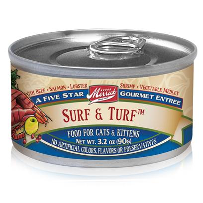 Merrick Pet Care Presents Merrick Surf &amp; Turf Canned Cat Food 5.5oz can/Case of 24. Another Grain-Free Recipe from Merrick, Surf and Turf Canned Cat Food is a Delightful Meal thatS Sure to Boost your PetS Appetite for Good Food. With the Exciting Mixture of Seafood and Beef, Plus Fresh Fruits and Vegetables, your Pet is Sure to Enjoy the Flavorful Blend she Gets in Every Bite. Keeping Up with your PetS Dietary Needs, this Meal is also Packed with the Nutrients Needed to Give her that Extra Boost of Energy. SheS Sure to Glow More with Every Healthy Serving of Surf and Turf Canned Cat Food by Merrick. Primary Protein Source Beef Primary Carb Source Beef Analysis Crude Protein10.00% Crude Fat3.00% Crude Fiber1.50% Moisture78.00% [35700]