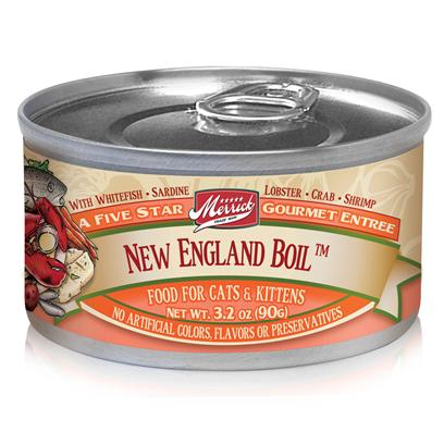 Merrick Pet Care Presents Merrick New England Boil Canned Cat Food 3.2oz can/Case of 24. Nothing Beats the Rich Flavor of a New England Boil, thatS Why Merrick Gives your Cat New England Boil Canned Cat Food. Made from the Finest Ingredients, and Packed to Keep its Freshness Sealed to Last for a Long Time, this Delectable Meal from Merrick is Sure to Excite your CatS Taste Buds. Keeping in Mind your PetS Health, the Fine Mix of Seafood Plus Fresh Vegetables Gives the Right Amount of Nutrients she Needs to Keep her Glowing. With the Rich Taste of Seafood Plus a Healthy Recipe to Keep Up with your CatS Health Needs, New England Boil Canned Cat Food is a Fantastic Meal your Pet will Love. Primary Protein Source Whitefish Primary Carb Source Whitefish Analysis Crude Protein10.00% Crude Fat3.00% Crude Fiber1.50% Moisture78.00% [35703]
