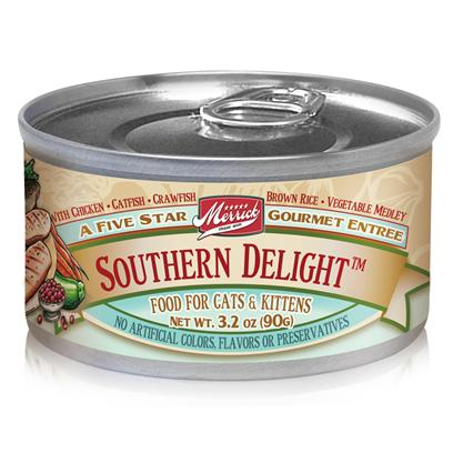 Merrick Pet Care Presents Merrick Southern Delight Canned Cat Food 5.5oz can/Case of 24. Merrick Southern Delight Canned Cat Food Offers a Classic Blend of Meats and Vegetables in Every Can. [35706]