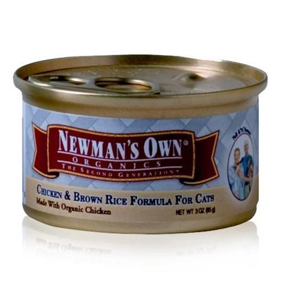 Newman's Own Presents Newman's Own Chicken/Brown Rice Canned Cat Food 3oz Cans-Case of 24. Finding the Purr-Fect Cat Food can be Tricky, but NewmanS Own Fits the Bill. Made from all-Natural Ingredients that are Free from Chemical Treatment, your Cat is Assured a Great Tasting, Healthy Meal. Containing only the Freshest Blend of Meats, Vegetables and Brown Rice, this Meal is Certified as not only Nutritious but Delicious and is Available in Great Flavors Like Chicken and Rice, Chicken and Salmon and Turkey and Vegetables. Both you and your Cat will Love the Great Option of NewmanS Own Cat Food. Primary Protein Source Chicken Primary Carb Source Chicken Analysis Crude Protein Max10.00% Crude Fat Max7.00% Crude Fiber Max1.00% Moisture Max78.00% [35738]