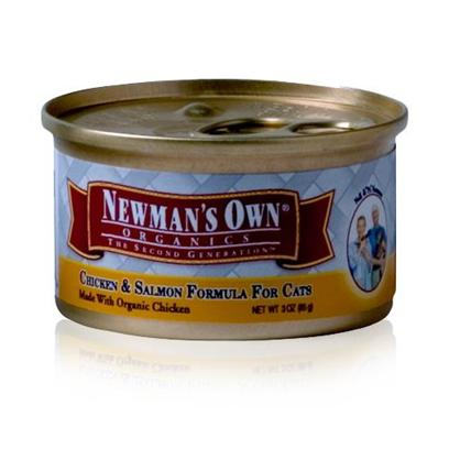 Newman's Own Presents Newman's Own Chicken/Salmon Canned Cat Food 3oz Cans-Case of 24. Finding the Purr-Fect Cat Food can be Tricky, but NewmanS Own Fits the Bill. Made from all-Natural Ingredients that are Free from Chemical Treatment, your Cat is Assured a Great Tasting, Healthy Meal. Containing only the Freshest Blend of Meats, Vegetables and Brown Rice, this Meal is Certified as not only Nutritious but Delicious and is Available in Great Flavors Like Chicken and Rice, Chicken and Salmon and Turkey and Vegetables. Both you and your Cat will Love the Great Option of NewmanS Own Cat Food. Primary Protein Source Chicken Primary Carb Source Chicken Analysis Crude Protein Min10.00% Crude Fat Min6.00% Crude Fiber Max1.00% Moisture Max78.00% [35740]