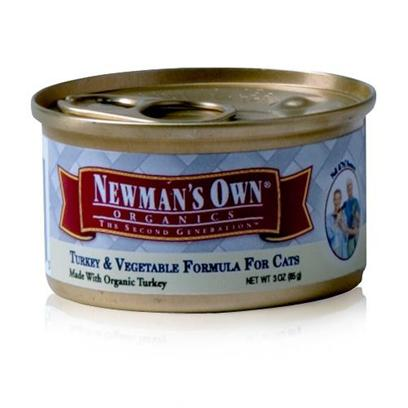 Newman's Own Presents Newman's Own Turkey/Vegetables Canned Cat Food 5.5oz Cans-Case of 24. Finding the Purr-Fect Cat Food can be Tricky, but Newman'S Own Fits the Bill. Made from all-Natural Ingredients that are Free from Chemical Treatment, your Cat is Assured a Great Tasting, Healthy Meal. Containing only the Freshest Blend of Meats, Vegetables and Brown Rice, this Meal is Certified as not only Nutritious but Delicious and is Available in Great Flavors Like Chicken and Rice, Chicken and Salmon and Turkey and Vegetables. Both you and your Cat will Love the Great Option of Newman'S Own Cat Food. Primary Protein Source Turkey Primary Carb Source Turkey Analysis Crude Protein (Min)9.00% Crude Fat (Min)7.00% Crude Fiber (Max)1.00% Moisture (Max)78.00% [35742]