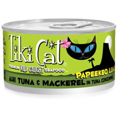 Petropics Presents Tiki Cat Papeekeo Luau Tuna Canned Food 8/6oz. Tiki Cat Gourmet Whole Food Brand Cat Food Papeekeo Luau is Shredded Ahi Tuna and Mackerel Prepared in Tuna Consomm for a Grain Free, Gravy Free, Zero Carb Meal. Complete and Balanced Diet for all Life Stages. [35773]