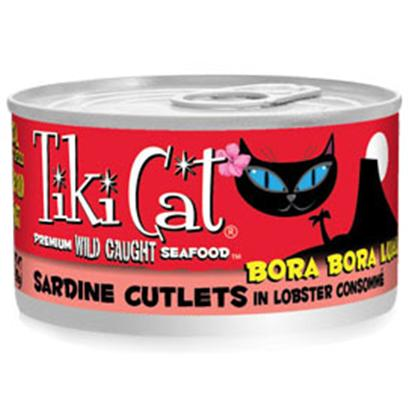 Petropics Presents Tiki Cat Bora Luau Sardines Canned Food 12/2.8oz. Sardine Cutlets in Lobster Consomme'tiki Cat Gourmet Whole Food Brand Cat Food Bora Luau is Sliced Sardine Prepared in Lobster Consomm for a Grain Free, Gravy Free, Zero Carb Meal. [35776]