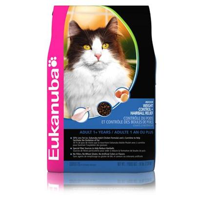 P&amp;G Presents Eukanuba Cat Indoor Weight Control &amp; Hairball Relief 4lb Bag. All our Cat Products, Including Indoor Weight Control &amp; Hairball Relief, Contain the Prebiotic Fos to Support your CatS Strong Defenses. ItS just an Example of the Scientific Nutrition that Goes into Every Bite.Recommended Foradult Cats that Live Exclusively Indoors.Product Descriptioneukanuba Indoor Weight Control &amp; Hairball Relief Contains L-Carnitine, which is Proven to Help Reduce Body Fat and Helps your Overweight Cat Burn Up to 6% Extra Body Fat and Maintain Lean Muscle Mass. Eukanuba Indoor Weight Control &amp; Hairball Relief is the only Indoor Cat Diet Formulated with Real Chicken as the Main Protein Source, not Vegetable Protein, and has a Proven Fiber System that Reduces Hairballs by Up to 21%. [35834]