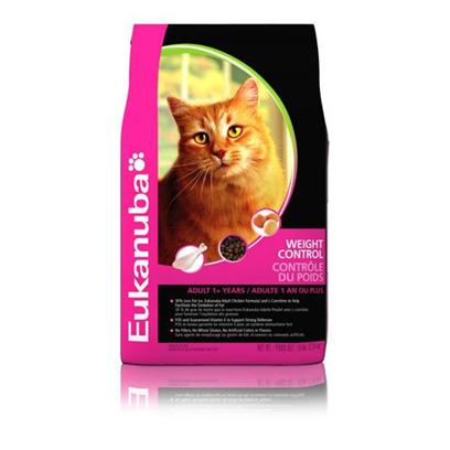 P&amp;G Presents Eukanuba Weight Control Dry Cat Food 7lb Bag. In Nature, Whether it be a Cougar, a Tiger or a Lion, a Big Cat Hungers for Meat to Survive. Your Cat has the Same Need for Animal Protein to be Strong and Healthy. Eukanuba. Weight Control Formula for Cats is Made with the Feline Fat Burner System to Help your Cat Lose and Manage Weight Successfully. Not to Mention, High Amounts of Chicken Protein for Great Taste.Eukanuba Weight Control Formula for Cats is Designed Specifically by Veterinarians and Nutritional Experts for Overweight and/or Inactive Cats. Eukanuba Weight Control Formula for Cats will Help your Cat Burn Fat and Maintain a Healthy Weight 40% Less Fat than our Adult Chicken Formula Added Vitamin a to Help Maintain a Healthy Weight and Manage Weight Gain a Patented Carbohydrate Blend to Help Maintain Normal Blood Sugar Levels for Weight Control Chicken is the Main Ingredient for Great Taste Omegacoat Nutritional Science; for Healthy Skin and a Rich, Lustrous Coat [35837]