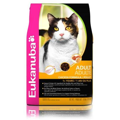 P&amp;G Presents Eukanuba Adult Chicken Formula Dry Cat Food 16lb Bag. Cats have Specific Dietary Needs and with EukanubaS Cat Food youRe Assured that your Pet Gets a Meal Designed to Meet Those Needs and Boost Vitality. Made with your CatS Health in Mind, Eukanuba Uses only the Finest Natural Ingredients as Nutrient Sources to Help Keep her Fit. Made for Both Kittens and Cats, in a Great Chicken Flavor, this Meal is Prepared to Perfection, Blending the Flavors of Quality Meat and Vegetables with Health. A Great Meal Designed to Spoil your Cat, EukanubaS Cat Food is Fit for a Queen. Primary Protein Source Chicken Primary Carb Source Chicken Analysis Crude Protein not Less than 34.0% Crude Fat not Less than 21.0% Crude Fiber not More than 2.5% Moisture not More than 10.0% Ash not More than 7.0% Magnesium not More than 0.10% Vitamin E not Less than 250 Iu/Kg Taurine not Less than 0.16% Omega-6 Fatty Acids not Less than 1.40%* Omega-3 Fatty Acids not Less than 0.28%* * not Recognized as an Essential Nutrient by the Aafco Cat Food Nutrient Profile. [35844]