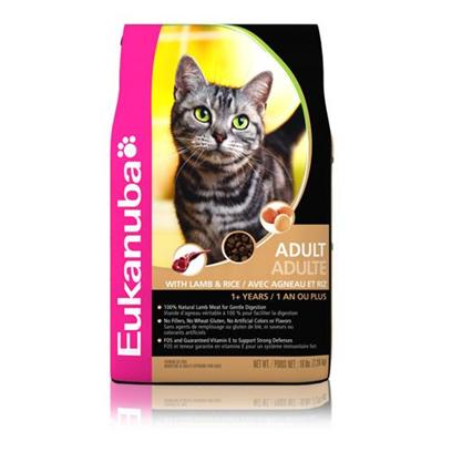 P&amp;G Presents Eukanuba Cat Lamb &amp; Rice Dry Food 16lb Bag. EukanubaS Line-Up of Cat Food is the Perfect Nutrition-Packed Meal your Cat will Surely Love. Using only High-Quality Natural Ingredients, Each Variety Pack is Filled with a Delicious Meal thatS Sure to Excite your PetS Taste Buds. Having the Perfect Blend of Meats, Vegetables and Healthy Carbohydrates, Each SelectionWhether Dry or in a canis Rich in the Proteins and Prebiotics Fos (Fructoologosaccharides) that are Good for your CatS Muscle Development and Digestive System. To Give your Pet that Extra-Nourishment she Deserves, Eukanuba Cat Food is an Excellent Choice to Give her the Health-Boost she Needs. Primary Protein Source Chicken Primary Carb Source Chicken Analysis Crude Protein not Less than 34.0% Crude Fat not Less than 21.0% Crude Fiber not More than 2.5% Moisture not More than 10.0% Ash not More than 7.0% Magnesium not More than 0.0965% Vitamin E not Less than 250 Iu/Kg Taurine not Less than 0.16% Omega-6 Fatty Acids not Less than 1.60%* Omega-3 Fatty Acids not Less than 0.32%* [35847]