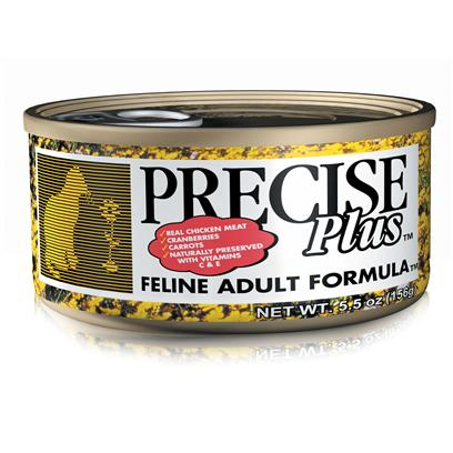 Precise Presents Precise Plus Feline Adult 24/5.5oz. Designed to Provide your Adult Dog with a Complete and Balanced Meal, Precise Plus Adult Formula is One of the Most Highly Recommended Foods on the Market. Using only the Finest Ingredients and Carefully Chosen Herbs, this Meal Helps to Promote your PetS Immune System. As your Pet Ages, his Needs also Change and Precise Plus Adult Meets Those Needs. Available in Great Flavors Like Lamb and Sweet Potato, your Pet will have a New Favorite. Filled with the Vitamins, Minerals and Proteins Needed to Maintain a Healthy Life-Style, Precise Plus Adult Pet Food is a Sure Way to Keep your Best Friend Happy and Healthy. Primary Protein Source Chicken Primary Carb Source Chicken Analysis Crude Protein (Min) 34.00%; Crude Fat (Min) 22.00%; Crude Fiber (Max) 3.00%; Moisture (Max) 10.00%; Ash (Max) 7.00%; Magnesium (Max) 0.095%; Calcium (Min) 1.10%; Phosphorus (Min) 0.85%. [35852]
