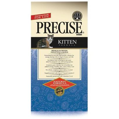 Precise Presents Precise Kitten 15lb Dry Food. Precise Kitten is a Great Way to Jump-Start your Young Pet on the Road to a Healthy Diet. Formulated to Provide the Nutrients Needed for her Growth, Precise Kitten is also Great for Adult Cats During Pregnancy. High in Calories, this Meal Acts as an Energy Booster that Promotes Healthy Development. Containing Vitamins E and C, Precise Kitten will also Help Boost your Pet'S Immune System. The Perfect Way to Introduce your Young Pet to a Healthy Lifestyle, Precise Kitten is a Great Meal Fit for a Young Queen. Primary Protein Source Chicken Primary Carb Source Chicken Analysis Crude Protein (Min) 32.00%; Crude Fat (Min) 17.00%; Crude Fiber (Max) 3.00%; Moisture (Max) 10.00%; Ash (Max) 6.50%; Magnesium (Max) 0.095%; Calcium (Min) 1.10%; Phosphorous (Min) 0.90%; Taurine (Min) 0.12%; Ascorbic Acid (Vitamin C) (Min) 23mg/Lb*. * not Recognized as an Essential Nutrient by the Aafco Cat Food Nutrient Profile. [35862]