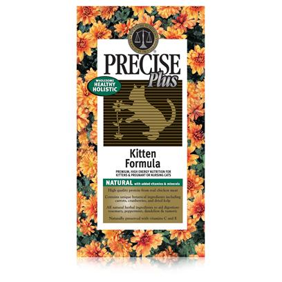 Precise Presents Precise Plus Kitten 16.5lb Dry Food. The Key to a Happy Kitten Starts with the Diet this is the Idea Behind Precise Plus Kitten'S Formula. Using Chicken as its Main Ingredient, this Meal is Packed with all the Protein Needed to Help her Muscles Develop. In Addition, it also Includes a Unique Blend of Vitamins and Minerals Such as Probiotics and Herbal Supplements, to Help Enhance her Immune System. A Recommended Meal to Feed Weaning Kittens, Pregnant and Nursing Cats, Precise Plus Kitten is a Great Way to Bring out your Queen'S Inner Light Early On. Primary Protein Source Chicken Primary Carb Source Chicken Analysis Crude Protein 35.00% (Min); Crude Fat 20.00% (Min); Crude Fiber 3.00% (Max); Moisture 10.00% (Max); Ash 7.00% (Max); Magnesium (Mg) 0.095% (Max); Calcium (Ca) 1.10% (Min); Phosphorus (P) 0.85% (Min); Taurine 0.14% (Min). [35864]