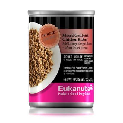 P&amp;G Presents Eukanuba Dog Mixed Grill with Chicken/Beef Canned Food 13.2oz Cans/Case of 12. Eukanuba Dog Mixed Grill with Chicken/Beef Canned Dog Food, Dogs Love the Taste! [35894]