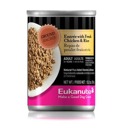 P&G Presents Eukanuba Dog Ground Entrée Chicken/Rice Canned Food 13.2oz Cans/Case of 12. Eukanuba Dog Ground Entrée Chicken/Rice Canned Dog Food, your Dog will Love the Taste! [35896]