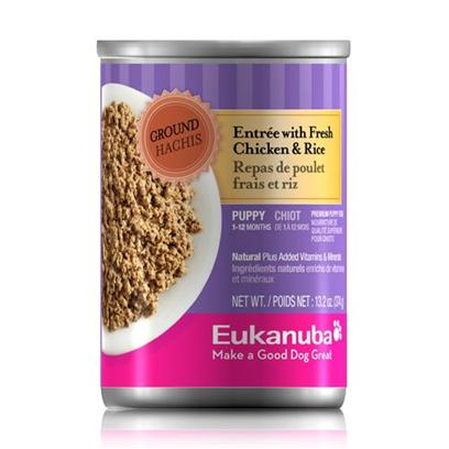 P&amp;G Presents Eukanuba Puppy Ground Entre Chicken/Rice 12/13.2oz Canned 13.2oz Cans/Case of 12. Eukanuba Ground Entre Recipes are a Superb Way to Target not only your Pets Stomach, but his Heart and Health. Made from Premium Ingredients, this Meal has Undergone a Holistic Process to Ensure that your Pet Gets a Delicious and Nutritious Meal Hell Surely Love. Designed by Eukanuba with a Mix of Flavors your Dog will Love, Youll Know your Pet is Getting the Healthy Food he Deserves. Available in Beef, Chicken, Lamb and Turkey and Rice for Both Adult Dogs and Puppies, Eukanuba Ground Entres are Dedicated to Helping you Nourish your Pet and Bring out the Champion in Every Dog! Primary Protein Source Chicken, Beef Primary Carb Source Chicken, Beef Analysis Crude Protein (Min) 10.5 % Crude Fat (Min) 8.5 % Crude Fiber (Max) 1.75 % Moisture (Max) 76.0 % Vitamin E (Min) 50 Iu/Kg Omega-6 Fatty Acids (Min) 1.1 %* Omega-3 Fatty Acids (Min) 0.15 %* *not Recognized as an Essential Nutrient by the Aafco Dog Food Nutrient Profiles. [35899]