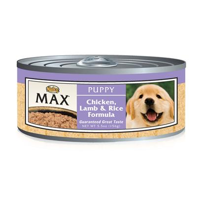 Nutro Presents Nutro Max Puppy Chicken/Lamb/Rice Canned Dog Food 5.5oz Cans/Case of 24. Puppies have Different Nutritional Requirements than Adult Dogs and Nutro Max Puppy Provides the Perfect Meal to Aid Both Mental and Physical Development. Made from the Finest Choice of Meats and Vegetables, your Growing Puppy will Get all of his Necessary Nutrients.. To Make Sure he Enjoys his Meal, Nutro Max has been Cooked in a Holistic Process that Ensures Flavors are Blended to Excite his Taste Buds, and Comes Available in a Great Chicken, Lamb and Rice Flavor. A Great Way to Start your Pet on the Road to a Healthy Lifestyle, Nutro Max Puppy will Keep your Pet Happy and Healthy. Primary Protein Source Chicken Primary Carb Source Chicken Analysis Crude Protein (Minimum)9.00% Crude Fat (Minimum)6.00% Crude Fiber (Maximum)1.00% Moisture (Maximum)78.00% Ash (Maximum)3.00% [35908]