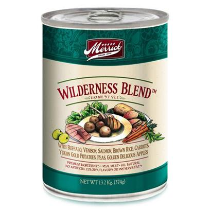 Merrick Pet Care Presents Merrick Wilderness Blend Canned Dog Food 13.2oz Cans/Case of 12. Wilderness Blend Dog Food is a Great Way to Let your Dog Savor the Flavors the Wild. The Rich Buffalo Taste is Packed with all the Nutrients Needed to Enhance your Dog's Health and Increase his Appetite. Packed with Great Taste and Formulated to Help Digestion, Wilderness Blend Dog Food will Leave your Pet Wagging his Tail for More. Help your Dog Maintain his Health and Quality of Life with the Great Taste and Vitamins and Minerals Found in Wilderness Blend Dog Food. Primary Protein Source Buffalo Primary Carb Source Buffalo Analysis Moisture (Max)81.00%Crude Protein (Min)9.00%Crude Fat (Min) 5.00%Crude Fiber (Max)1.00% [35934]
