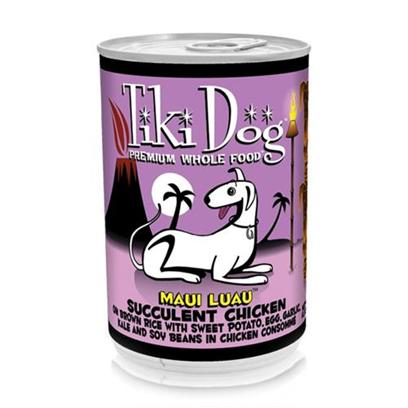 Petropics Presents Tiki Dog Maui Luau Chicken Canned Food 14oz Cans/Case of 12. Tiki Dog Gourmet Whole Food Brand Dog Food Maui Luau is Shredded Chicken Breast on Brown Rice Topped with Sweet Potato, Egg, Garlic and Kale Prepared in Chicken Consomm for a Low Grain, Gravy Free, One Percent Carb Meal. [35983]