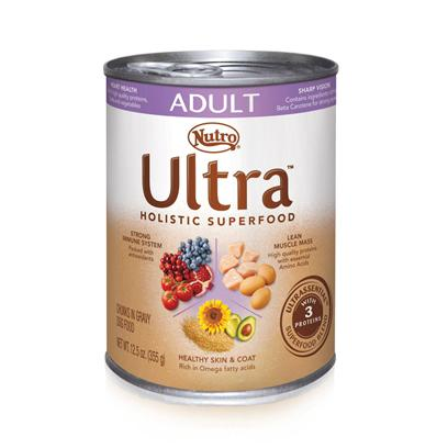 Nutro Presents Nutro Ultra Adult Cans Dog Food 12.5oz Cans/Case of 12. Ultra Canned Holistic Dog Foods for Adult Dogs are Made Up of a Unique Blend of Natural Superfoods, Like Blueberries, Sunflower Oil, and Spinach, to Support your Adult Dog's Skin and Coat, Heart Health, and Overall Well-Being. We also Combine Three Lean, Healthy, Premium Quality Proteins to Help Maintain Strong Muscles. And Adult Dogs Love the Taste  just Open Up a can of our Food and Watch your Dog Pant with Pleasure. [35986]
