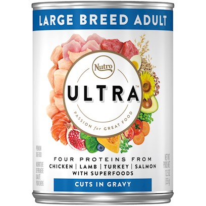Nutro Presents Nutro Ultra Large Breed Adult Dog-12.5oz Cans/Case of 12. Ultra Canned Holistic Dog Food for Large Breed Adult Dogs is Built Specifically for Them. We Use Natural Sources of Glucosamine and Chondroitin Work to Help Promote Healthy Joints, and Superfoods to Keep your Dog Vibrant and Active. They'll Love the Texture and Taste  and will Come Running for More Every Time. And, Like all of Ultra'S Holistic Adult Dog Foods, it's Always 100% Natural. [35993]