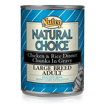 Nutro Presents Nutro Natural Choice Large Breed Dog Food 12.5oz Cans/Case of 12. Natural Choice Large Breed Weight Management Adult Chicken &amp; Rice Formula Chunks in Gravy Dog Food Provides Natural, Balanced Nutrition that Helps Overweight or Less Active Large Breed Dogs More than 50 Lbs. Manage their Weight. This Natural Dog Food has a Blend of Fiber and the Right Protein Level to Help Dogs Feel Full, which can Reduce their Overall Food Intake to Aid in Weight Management. Give your Adult Dog the Necessary Nutrition to Stay Strong and Lean. [36018]