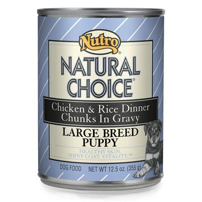 Nutro Presents Nutro Natural Choice Chicken &amp; Rice Large Breed Puppy Food 12/12.5oz. Natural Choice Large Breed Puppy Chicken &amp; Rice Formula Chunks in Gravy Puppy Food Provides Natural Nutrition for Puppies that will be More than 50 Lbs. At Maturity. Dha from Fish Oil Helps Healthy Brain Development, and Naturally Sourced Glucosamine and Chondroitin Promote Strong Joint Health, which is Important for Large Breed Dogs. And, in this Natural Puppy Food, we Use Linoleic Acid, Combined with Other Key Vitamins and Minerals, for Healthy Skin and a Shiny Coat. [36020]