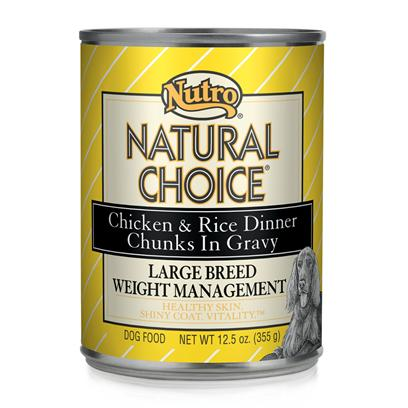 Nutro Presents Nutro Natural Choice Large Breed Weight Management Dog Food 12/12.5oz. Natural Choice Large Breed Weight Management Adult Chicken &amp; Rice Formula Chunks in Gravy Dog Food Provides Natural, Balanced Nutrition that Helps Overweight or Less Active Large Breed Dogs More than 50 Lbs. Manage their Weight. This Natural Dog Food has a Blend of Fiber and the Right Protein Level to Help Dogs Feel Full, which can Reduce their Overall Food Intake to Aid in Weight Management. Give your Adult Dog the Necessary Nutrition to Stay Strong and Lean. [36022]