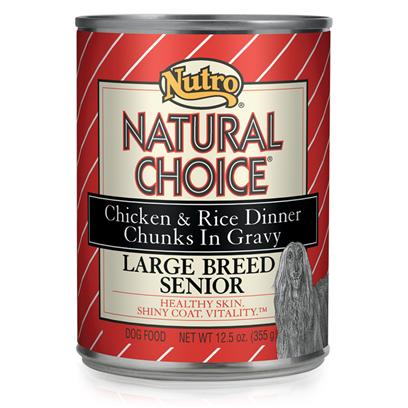 Nutro Presents Nutro Natural Choice Chicken &amp; Rice Senior Large Breed Dog Food 12.5oz Cans/Case of 12. Natural Choice Large Breed Senior Chicken &amp; Rice Formula Chunks in Gravy Dog Food is Specifically Designed to Provide Complete and Balanced Nutrition for Senior Dogs More than 50 Lbs. Naturally Sourced Glucosamine and Chondroitin Provide Joint Support, and Antioxidants Replenish your DogS Immune System. We also Balanced the Calcium and Phosphorus Levels to Support Bone Health. Plus, our Premium, Natural Ingredients and Real Chicken Help Give this Natural Dog Food a Taste your Dog will Enjoy. [36028]
