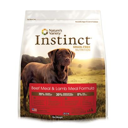 Nature's Variety Presents Nature's Variety Instinct Grain Free Beef Meal &amp; Lamb Dry Dog Food 25.3lb Bag. Pure, Instinctive Nutrition for your Dog Instinct Foods are Grain-Free and Gluten-Free  Perfect for Satisfying your Dog's Carnivorous Cravings and Nutritional Needs. Instinct is also Highly Digestible and Nutritionally Dense, Making it a Natural Solution for Pets with Allergies or Weight Issues. Feed Instinctively to Give your Pet the Nourishment and Energy to Enjoy Life Every Day. Our Grain-Free Instinct Kibble is Made with the Highest Levels of Pure Animal Protein, Wholesome Fruits and Vegetables, and Essential Oils, Vitamins, and Minerals. Every Ingredient is Chosen with Care. Our Foods are 100% Free of Corn, Wheat, Soy, Chemicals, and Artificial Colors &amp; Preservatives. Each Diet is Rich in Meat, Poultry or Fish Proteins to Give your Dog Everything he Needs for a Long and Happy Life with You. Instinct is Made by Nature's Variety, a Natural Pet Food Company Located in Lincoln, Nebraska. Our Team is Passionate About Providing Proper, Holistic Nutrition for your Beloved Dog. Instinct Products are Designed so you can Feed Canned and Kibble Food in a Variety of Flavors to your Pet. We are Proud Pet Parents, just Like You! So we Understand that your Pet has a Special Place in your Family, in your Life, and in your Heart. Our Products are Sold Across the United States and Canada in Local and National Pet Specialty Stores and are Available Online. Key Benefits  High Protein, Grain Free Dry Dog Food that Provides the Nutrition Dogs Need in a Great Tasting Kibble Dogs Love  Superior Food for your Dog  Buy Quality and Feed Less  may Provide Relief from Food Allergies and Helps your Dog Reach and Maintain an Ideal Weight Along with Proper Portions and Exercise  Perfect for Small to Large Dogs and Complete and Balanced for all Life Stages and all Breeds [36041]